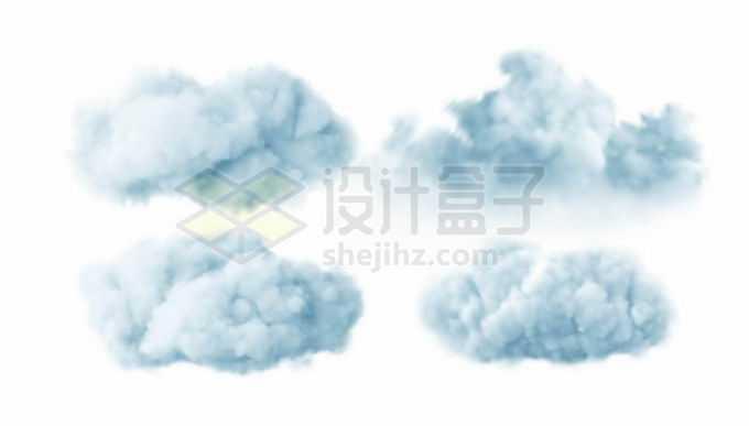 4种蓝灰色的云朵积雨云乌云9824920矢量图片免抠素材