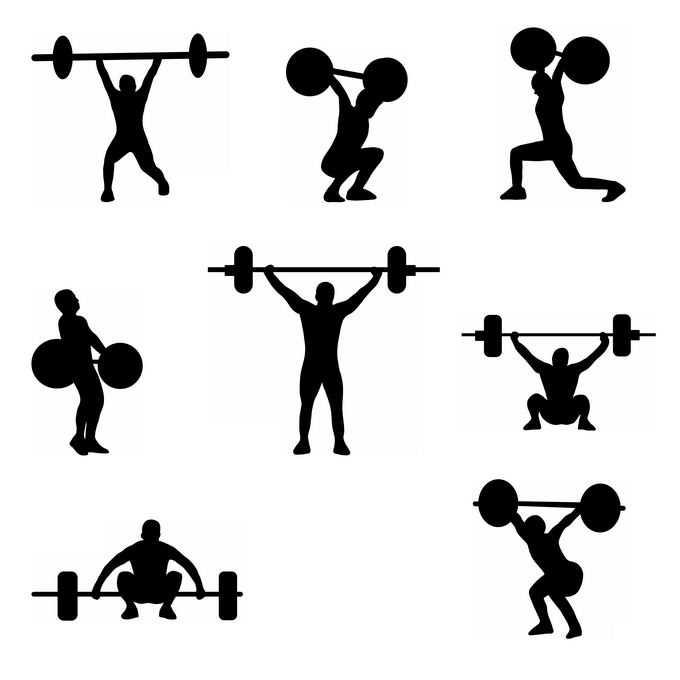8款举重运动员奥运会人物剪影8131056免抠图片素材