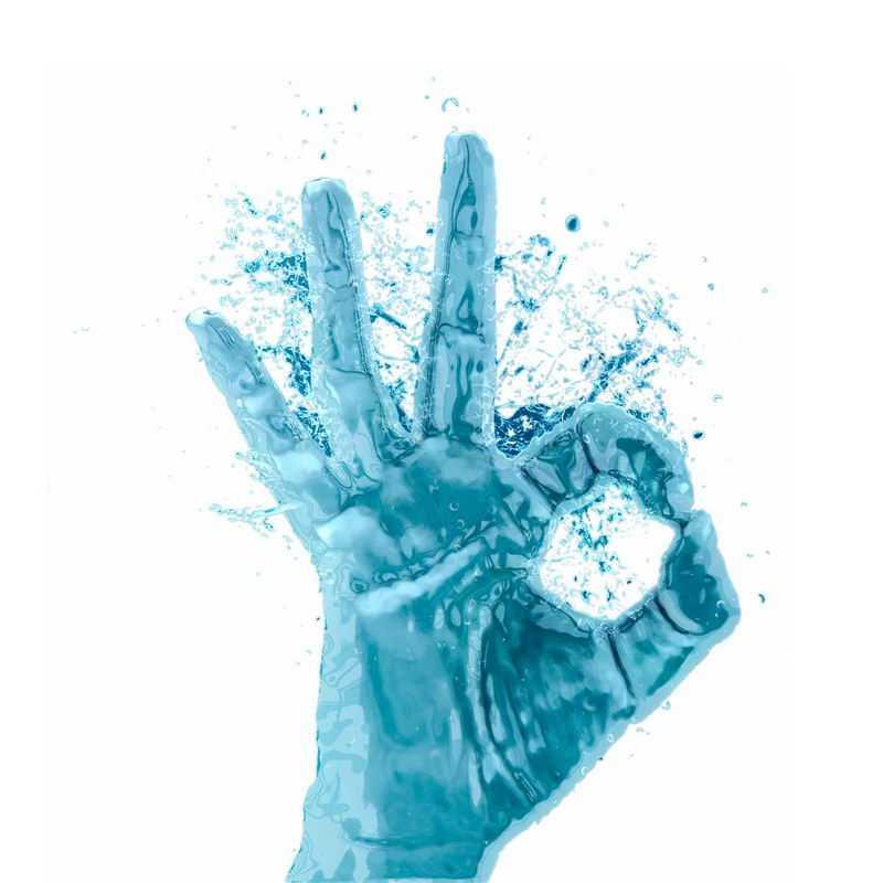 液化效果蓝色OK手势手指液态水效果4245738免抠图片素材