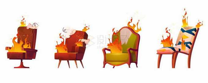 4款着火的椅子发生火灾9200746矢量图片免抠素材免费下载