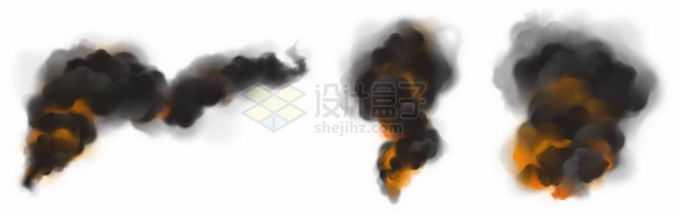 3款燃烧产生的浓烟滚滚黑烟柱效果6249279矢量图片免抠素材