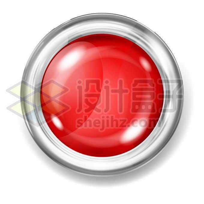 金属银色光泽边框的红色按钮2420667矢量图片免抠素材免费下载