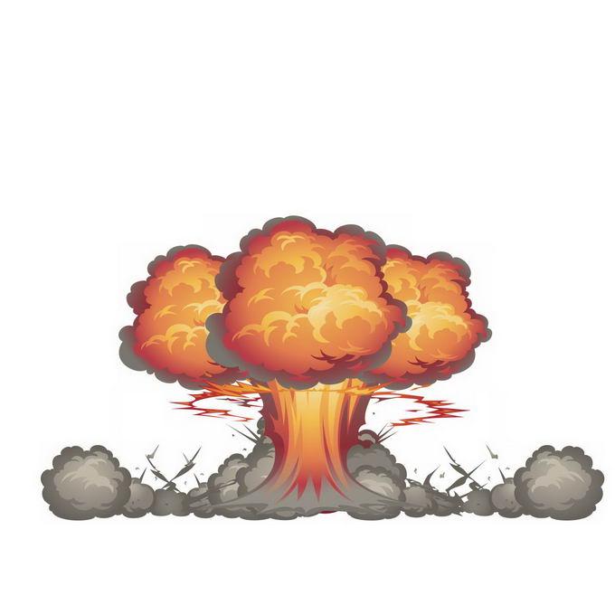 卡通漫画风格原子弹炸弹爆炸产生的蘑菇云效果3835254矢量图片免抠素材 效果元素-第1张