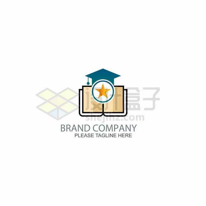 卡通线条书本和博士帽创意教育学校培训机构logo标志设计1163260矢量图片免抠素材
