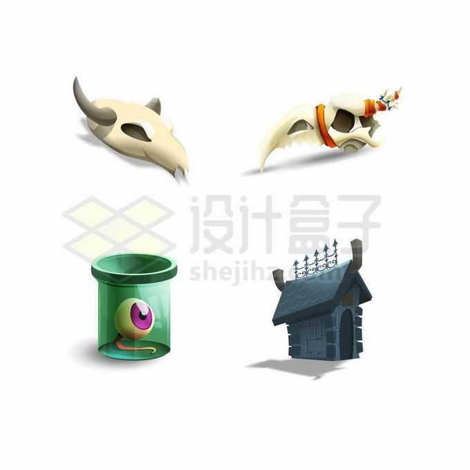 卡通山羊头盖骨和房子游戏道具UI元素1796524矢量图片免抠素材