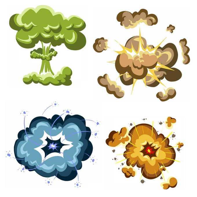4种卡通漫画风格的彩色爆炸效果9900657矢量图片免抠素材