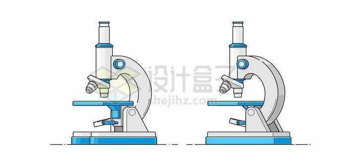 2个不同角度的蓝色白色光学显微镜手绘插画5458704矢量图片免抠素材免费下载