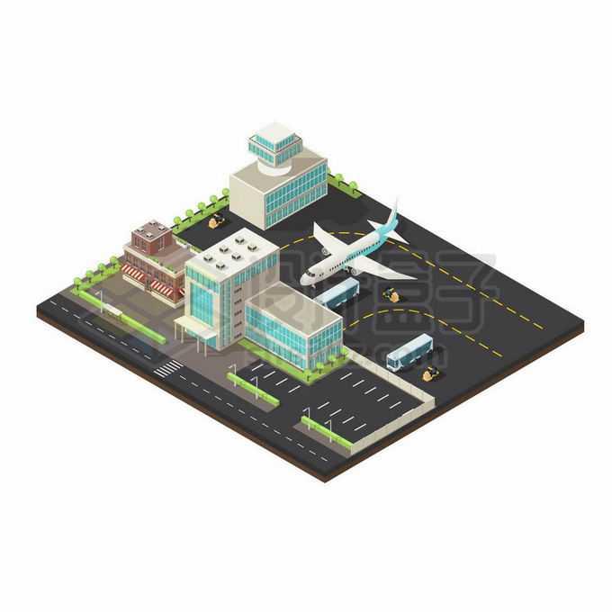 2.5D风格机场停机坪一隅2454483矢量图片免抠素材