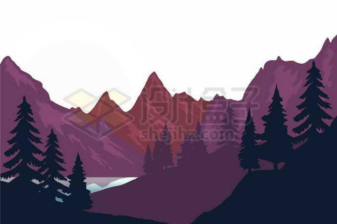 深红色的高峰远山大山和山谷森林剪影风景8757621矢量图片免抠素材免费下载
