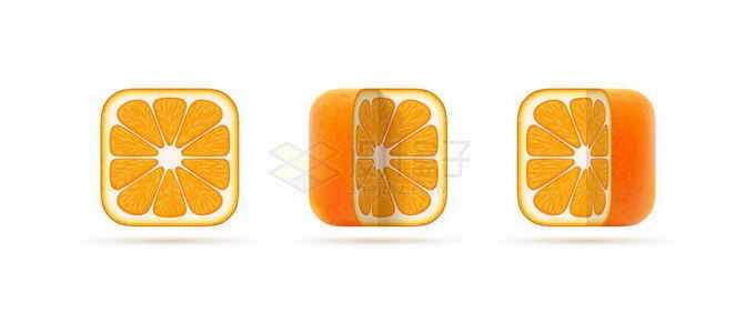 3款橙子切面创意水果圆角方形图标2986715矢量图片免抠素材免费下载