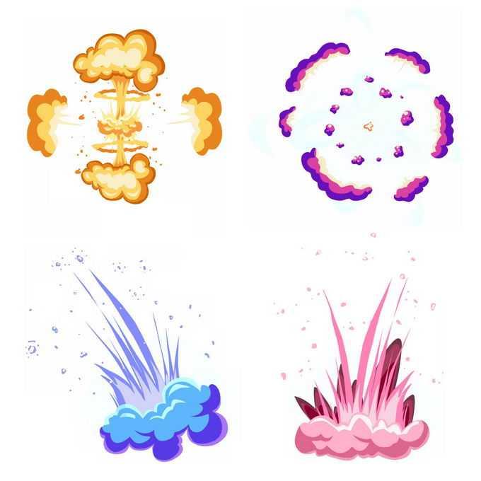 4种卡通漫画风格的彩色爆炸效果2209013矢量图片免抠素材