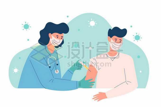 医生正在给男人打针注射新冠疫苗宣传插画3482410矢量图片免抠素材免费下载