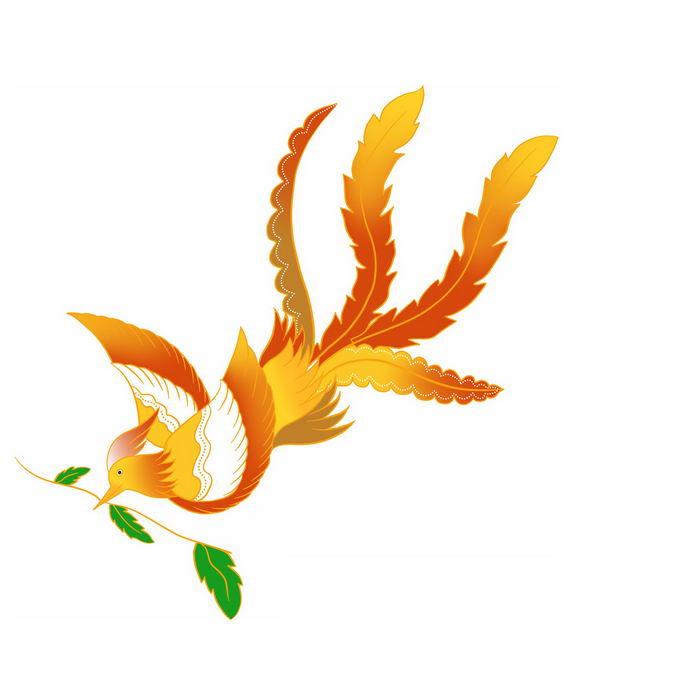 叼着树叶的卡通凤凰鸟7347696免抠图片素材 生物自然-第1张
