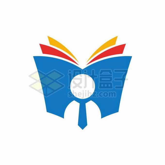 打开的彩色书本和小人儿创意文化教育类logo标志设计4840196矢量图片免抠素材