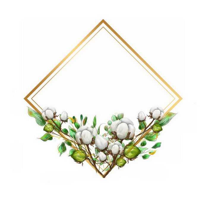 棉花和绿叶组成的正方形四边形文本框标题框4559595免抠图片素材
