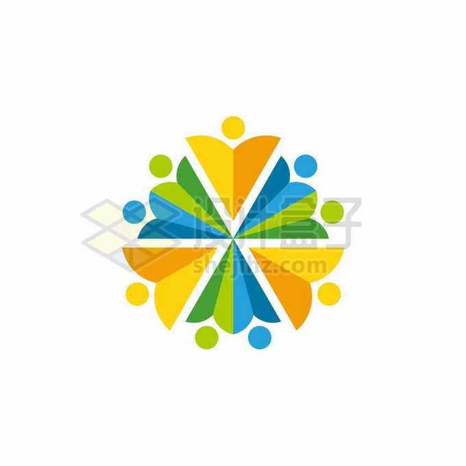 创意小人儿组成的花朵形状创意教育培训机构标志logo设计8234328矢量图片免抠素材