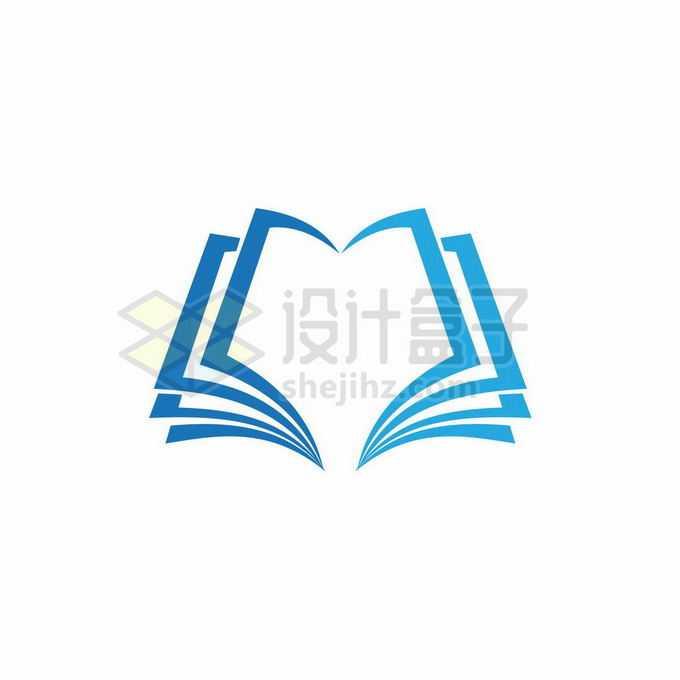 蓝色线条翻开的书本创意文化教育类logo标志设计5712535矢量图片免抠素材