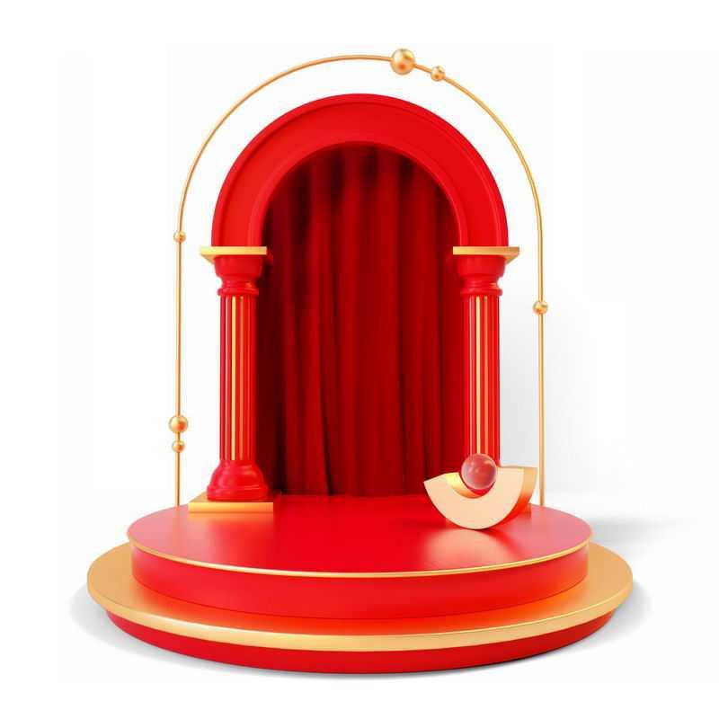 3D立体红色拱门和金色红色圆形展台8559295免抠图片素材