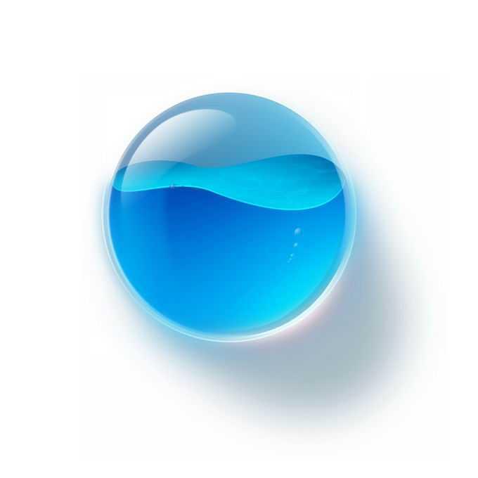 创意蓝色液态水的玻璃水晶圆形按钮7990775免抠图片素材免费下载