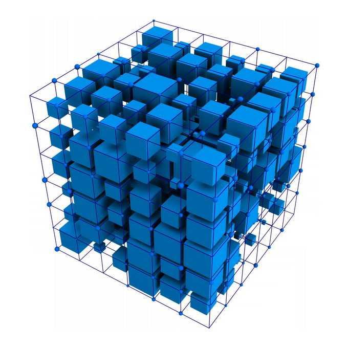 3D立体风格各种大小的蓝色立方体方块和线条组成的形状8823300PSD免抠图片素材