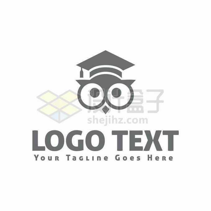 戴着博士帽的猫头鹰创意教育logo标志设计4552738矢量图片免抠素材