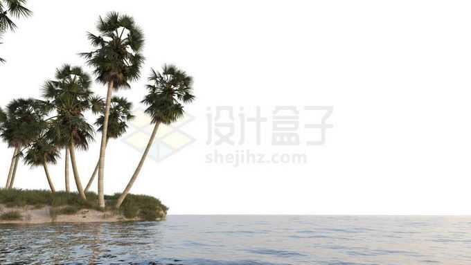 小岛沙滩上的椰树林大海上的海岛风景8772196免抠图片素材免费下载