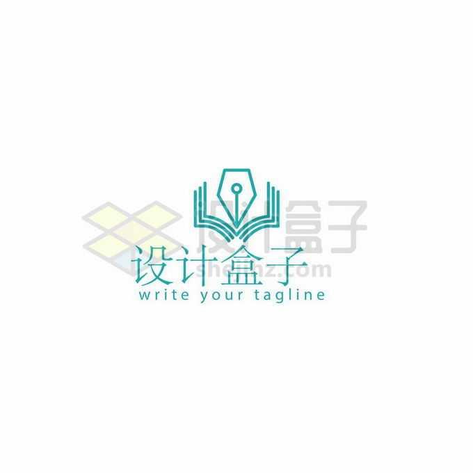 绿色线条钢笔头书本创意教育学校logo标志设计4943489矢量图片免抠素材