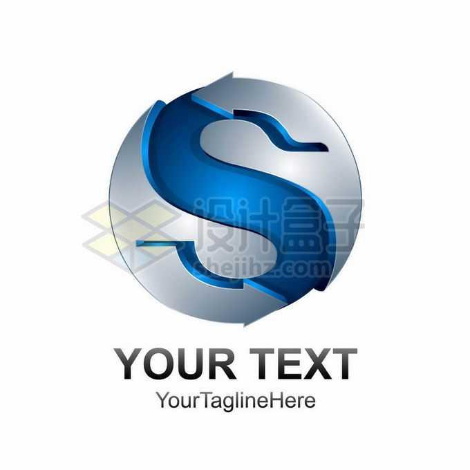 创意3D立体风格银色圆球上的蓝色大写字母S标志logo设计9555784矢量图片免抠素材