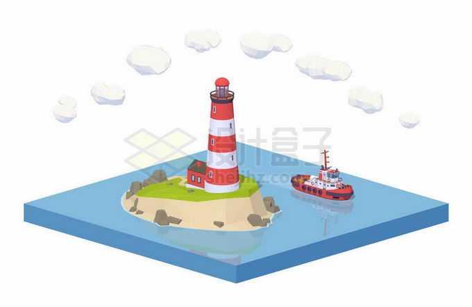 2.5D风格海岛上的灯塔和周围的渔船小船拖船8746008矢量图片免抠素材