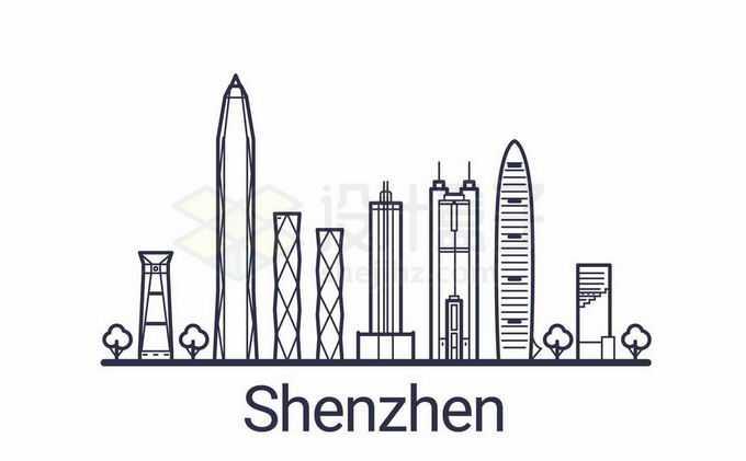 深圳地标建筑手绘插画5121949矢量图片免抠素材免费下载