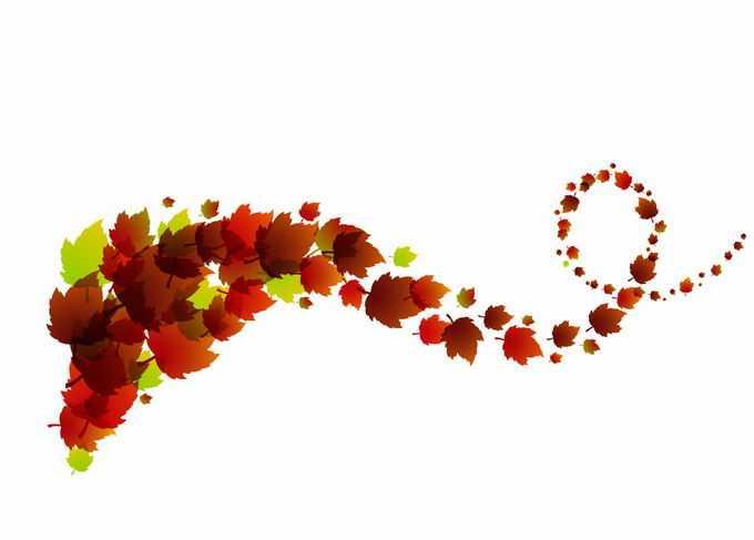 秋天里红色叶子落叶枫叶组成的螺旋图案8458702矢量图片免抠素材免费下载