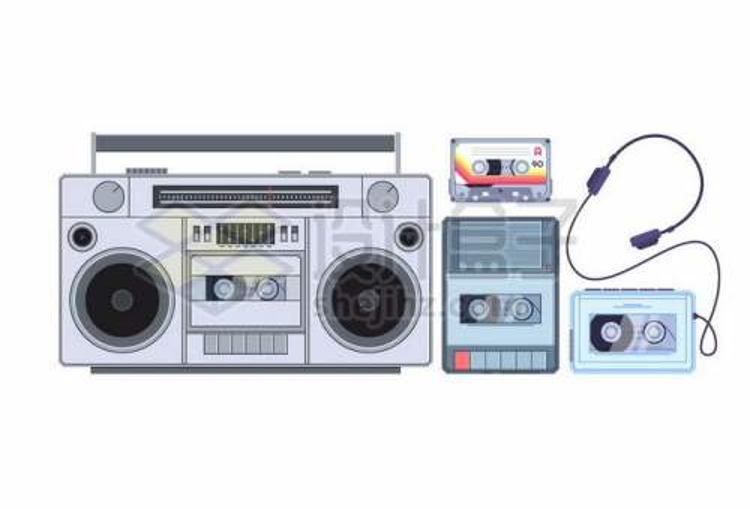 复古磁带录音机和磁带随身听7176623矢量图片免抠素材免费下载