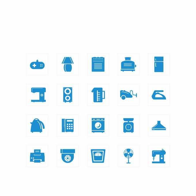 16款游戏机台灯冰箱缝纫机吸尘器电水壶电话洗衣机电风扇等蓝色家电图标9584536矢量图片免抠素材免费下载