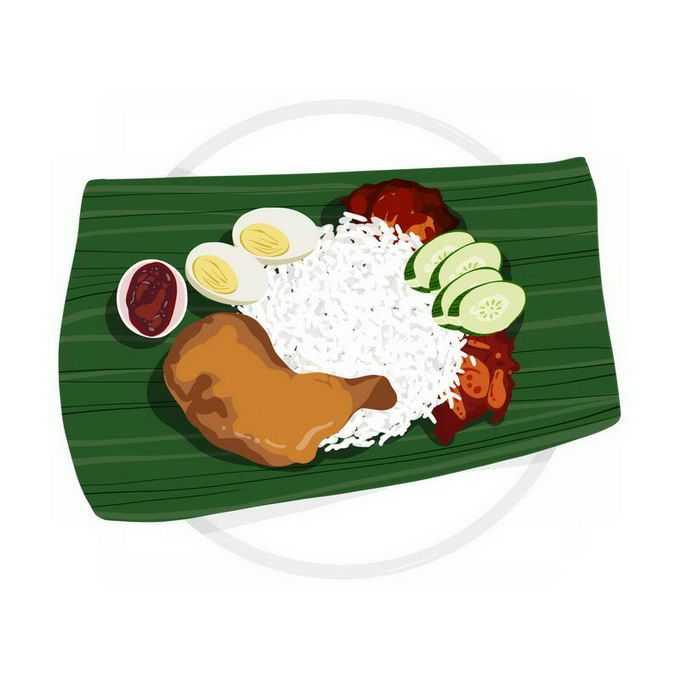 绿色树叶上的椰浆饭米饭鸡腿鸡蛋黄瓜美味美食东南亚菜7777354免抠图片素材