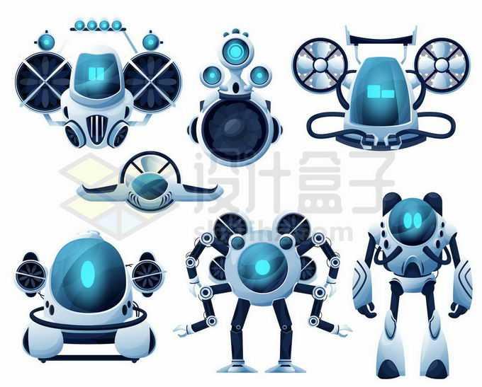 7款可爱的飞行机器人和卡通机器人3509633矢量图片免抠素材