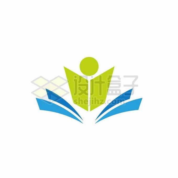 打开的蓝色书本和绿色小人儿创意文化教育类logo标志设计1899432矢量图片免抠素材