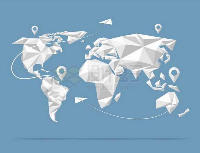 创意白色多边形组成的世界地图全球旅行地图6762134矢量图片免抠素材免费下载