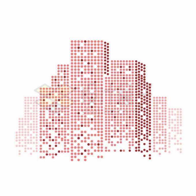 红色圆点组成的城市天际线高楼大厦建筑图案9288670矢量图片免抠素材