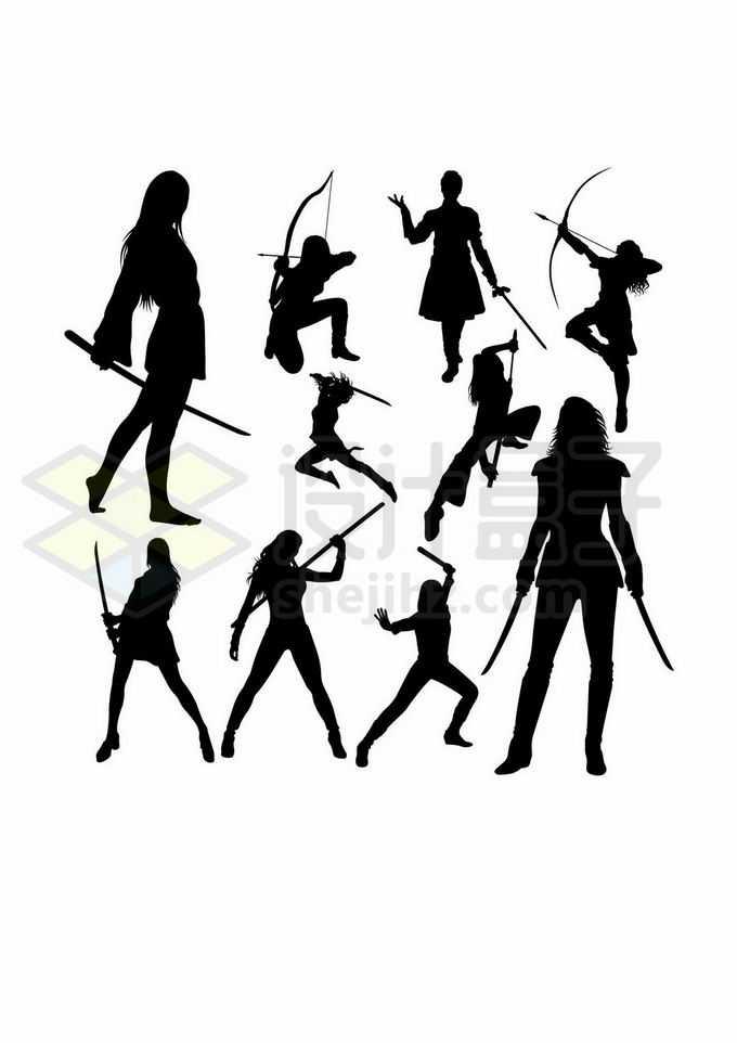 使用各种武器的女武神美女剪影8699451矢量图片免抠素材
