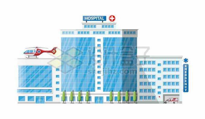 一栋蓝色的卡通医院大楼7322105矢量图片免抠素材免费下载