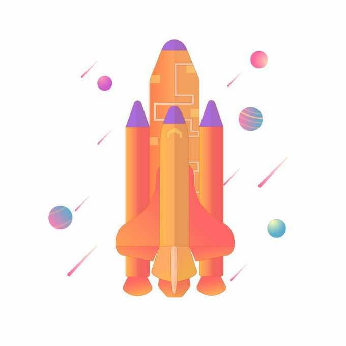 扁平化风格橙色卡通航天飞机5696887矢量图片免抠素材免费下载