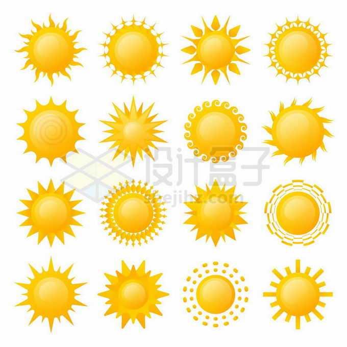 16款黄色太阳水晶按钮图案8192836矢量图片免抠素材