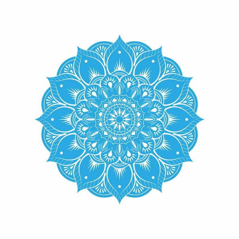 复古风格的复杂蓝色蔓藤花纹宗教花朵图案4525542矢量图片免抠素材