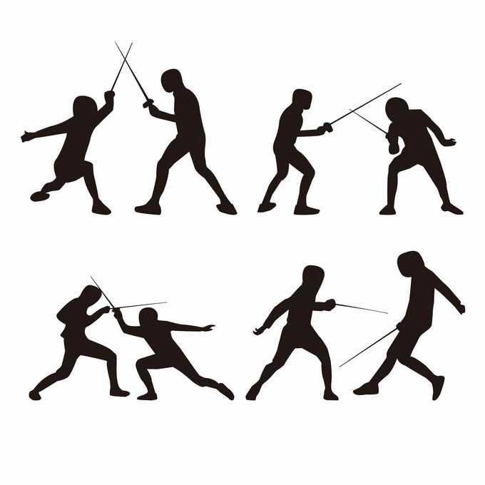 4组击剑运动员奥运会人物剪影3790817矢量图片免抠素材