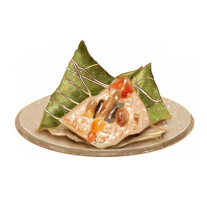 盘子上的肉粽子端午节美食插画2529209免抠图片素材
