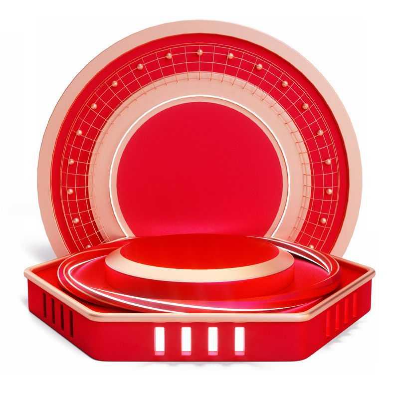 3D立体红色圆形背景装饰红色圆形展台5210199免抠图片素材