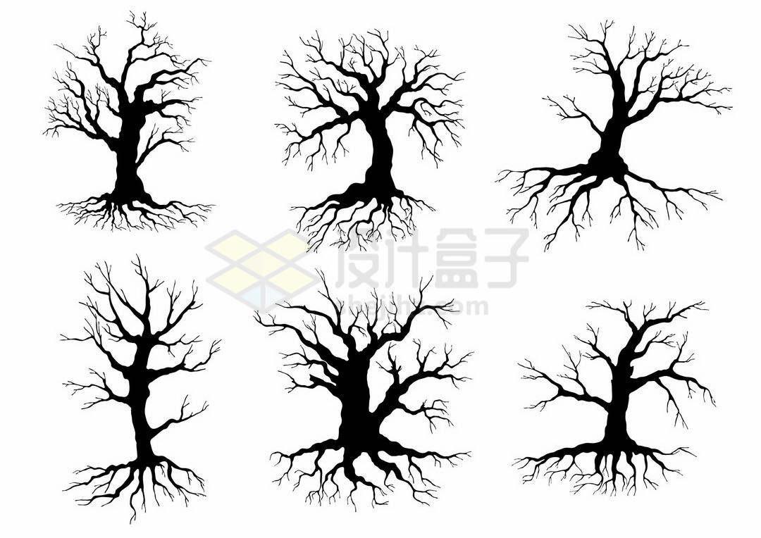 6款粗壮的枯树树干树冠和树根剪影图案1980528矢量图片免抠素材
