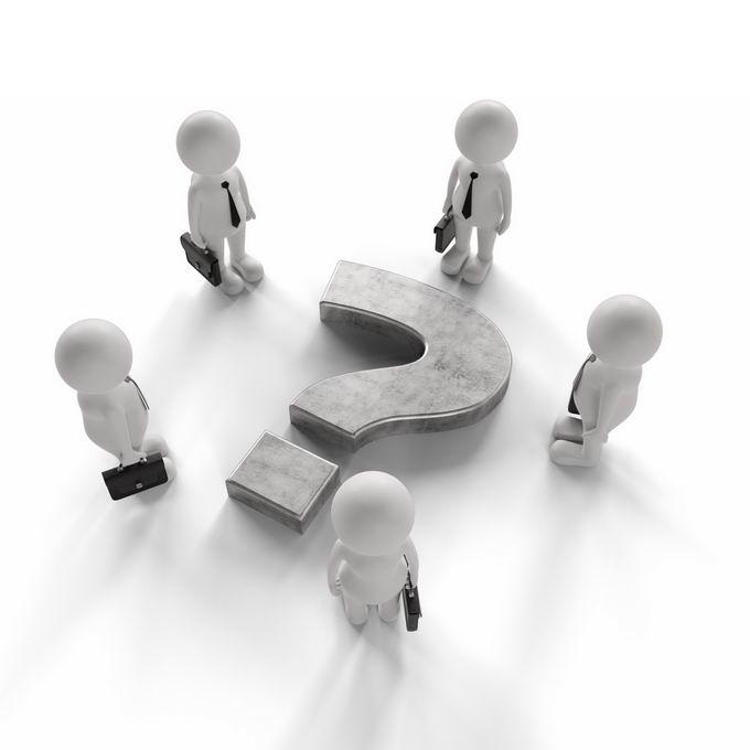 3D立体风格拎包的卡通小白人团队和地面上的问号9705395PSD免抠图片素材 商务职场-第1张