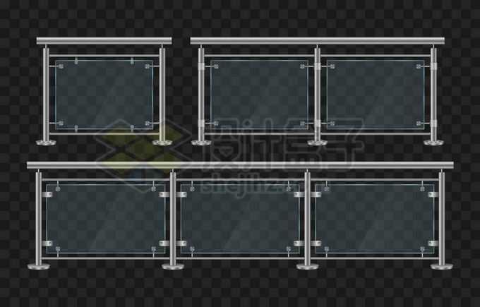 3款不锈钢玻璃栏杆4648774矢量图片免抠素材