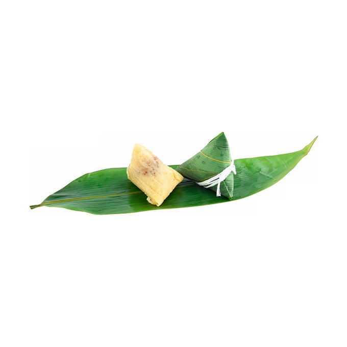 打开的粽叶上的端午节肉粽子传统美味美食4039979png免抠图片素材